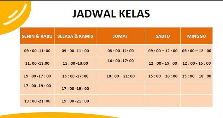 Jadwal Kelas kursus bahasa